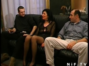 French mature gets double teamed and fisted