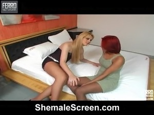 Blonde Tranny Banging a Redhead Chick