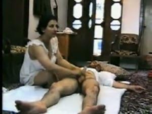 Arab busty brunette milf wife fucking a stranger on cam