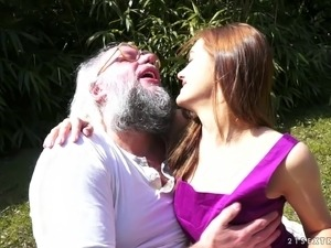 Horny grandpa plants his seed in the pussy of a cute teen