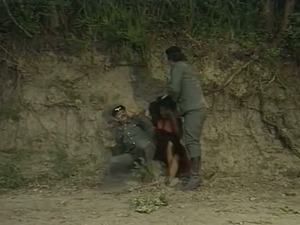 Village hooker with nice curves gets fucked by mean soldier in the wild