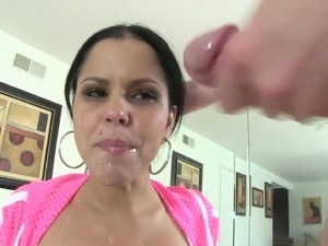 Adorable Latina brunette with long hair giving massive python marvelous blowjob