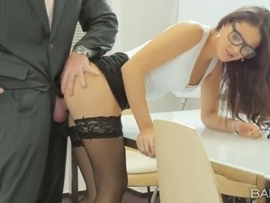 Naughty secretary Carolina Abril is fucked by clothed boos