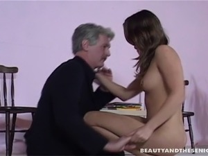 Young lady seducing an old man and finally getting a wild fuck