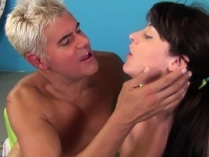 Huge tit Sophie gets cum on her tits and bangs him another time