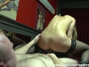 Bodacious blonde whore gets paid for giving blowjob