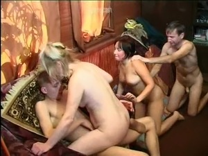 Bubbly cowgirls have their pussies fucked in a blazing foursome