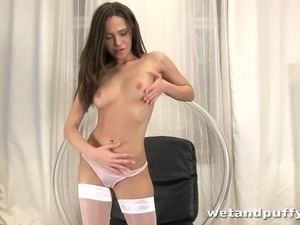 Hungarian girl playing with her luscious pussy