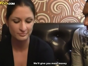 Shameless wench sucks two big cocks for a wad of cash