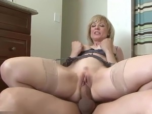 Really horny blonde mother seduces friend nice fuck