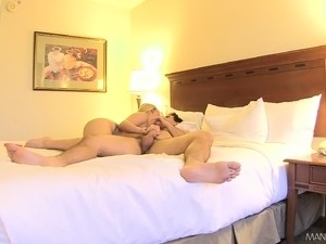 Delightful blonde has a stud giving her holes the attention they need