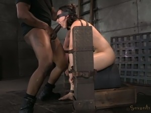 Brunette white whore got her rights violated in BDSM style