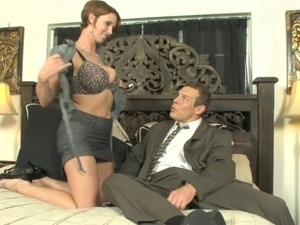 Busty slut goes to horny stud's room to suck his tool
