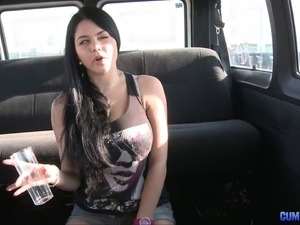 They get a huge tits girl in the car to film her fucking