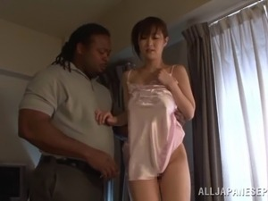 Hottie in pink swimsuit Sayuki Kanno gets pussy filled up by huge cock