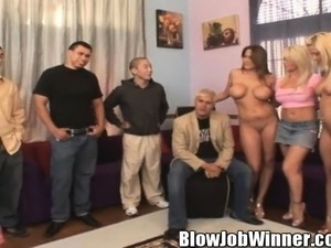 Buxom blonde with sexy legs Brooke Haven worships Gilbert's hard dick