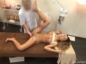 Hot as hell Asian girl massaged and fucked on the table