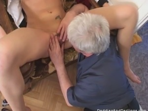 Hot coed Rita makes her old neighbor eat her pretty pink pussy