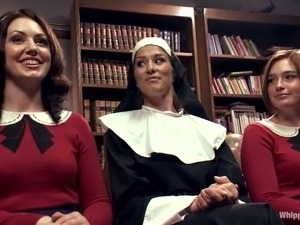 Sexy nun dominates two sexy babes in school uniform