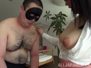 Pretty Asian teacher in glasses gives a sticky blowjob