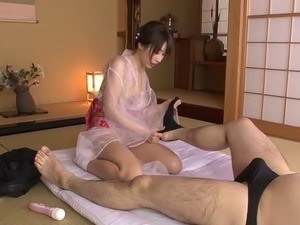 Big tits Japanese cutie getting fucked after giving a massage