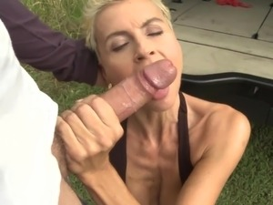 Kinky mother takes huge cock in Land Rover