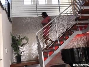 Black girl Rachel Raxxx with huge juggs takes white cock