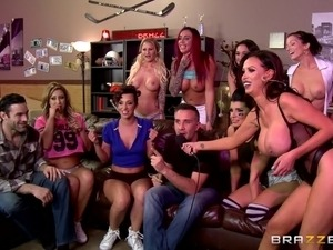 Big boobs sluts loves cumshot at a party while having group sex