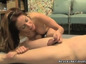 Buxom babe with a marvelous ass Kora Peters ballbusts the cleaning boy