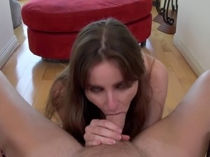Kinky brunette with gorgeous natural tits sucking a stranger's cock