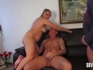 Busty german milf takes two cocks