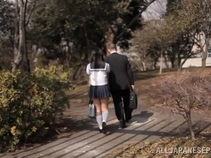 Japanese School Girl in Uniform Getting Fucked after Blowjob
