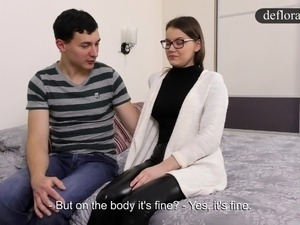 Defloration of Sasha - cute girl makes sex with a guy for th