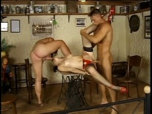 Hottie in nylons takes on 2 hard cocks