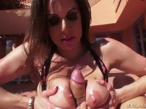 Breath taking brunette filth Kendra Lust gives steamy titjob in the yard