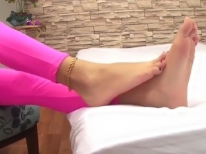 Young girl real sweaty soles