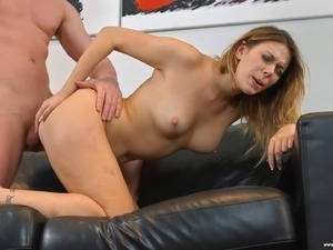 Seducing the sexy brunette and giving her a good dicking on the sofa