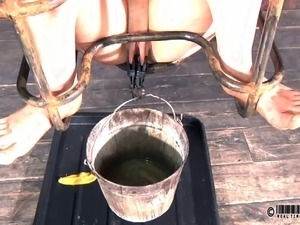 Beautiful slave pissing and drinking in BDSM porn shoot