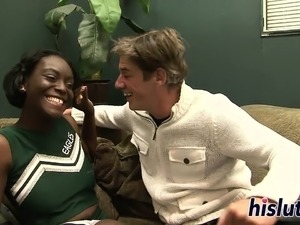 Bootylicious ebony cheerleader rides a white rod