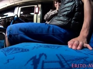 Public japanese babe jerking passenger on bus