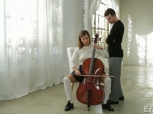 Cello lesson ending up with passionate sex