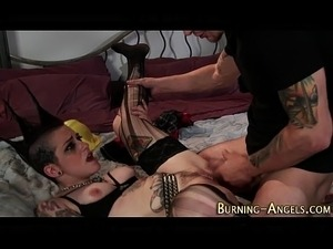 Punk rock slut rides dick