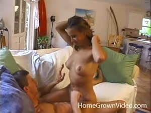 Hot woman's shaved pussy filled with sperm after a nice fuck