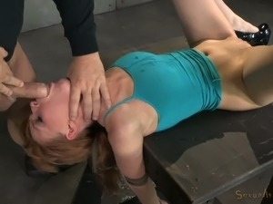 Nasty chick with tied up hands Marie McCray gives deepthroat blowjob