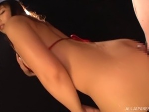 Oiled nice ass Asian dame stripteasing then ravished hardcore
