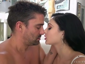 Black haired sexy bitch with red lips Ariana Marie swallows juicy dick on POV...
