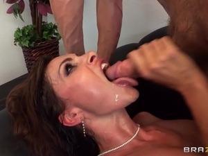 Magician makes sexy milf Nora Noir squirt as she rides his big cock