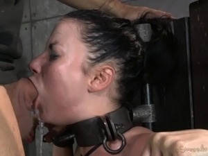 Cowgirl fake tits tied when tortured in BDSM porn shoot