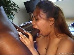 Red haired Asian hoe Pearl Essence swallows BBC and then rides it in revers...