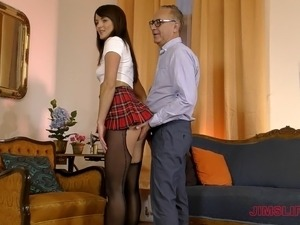 European babe in miniskirt yelling when pounded hardcore doggystyle